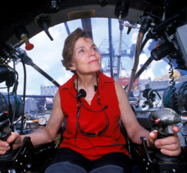 Dr. Sylvia Earle next to the Deep Rover sub.